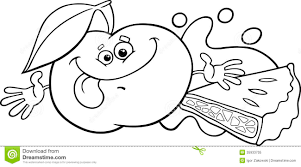 Small Picture Apple And Pie Cartoon Coloring Page Royalty Free Stock Photo