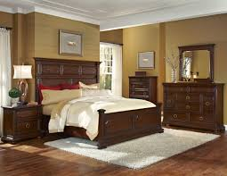 bedroom awesome master design with dark brown wooden frame plus cabinet table and dresser also mirror combine white rug on the wood laminate floor beige red