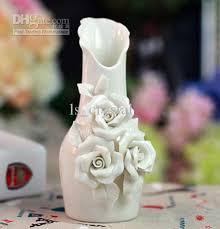 Small Picture Elegant White Ceramics 3 Rose Vases Cheap Discount Cylinder Vases