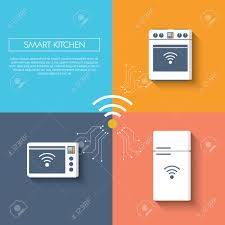 Smart Kitchen Internet Of Things Smart Kitchen Concept With Appliances