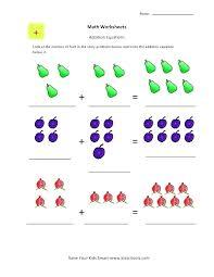 Math Addition Worksheets For Kindergarten Picture Kids Worksheet Fun ...