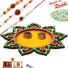 Rakhi Thali Design Star Design Cutwork Rakhi Thali Hamper With Set Of 3 Rudraksh Rakhis