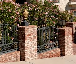 wrought iron fence brick. Black Iron Fence, Masonry And Fencing In Casa Grande, AZ Wrought Fence Brick