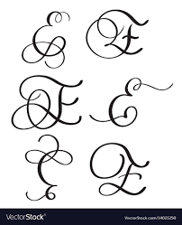 Set Of Art Calligraphy Letter E With Flourish Of