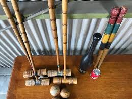 vintage wooden croquet set with black excercise pin photo 12