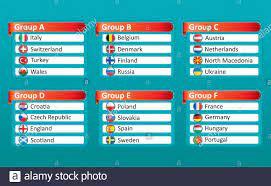 European football championship EURO 2020 2021 groups vector. European  football tournament groups. Vector country flag set for soccer championship  Stock Vector Image & Art - Alamy