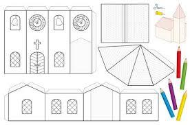 Church Paper Craft Sheet Unpainted Cut Out Template For Children