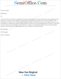 sample letter for approved vocation leave leave letter from company allowed leave