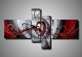 100 hand painted black white red canvas art group oil painting