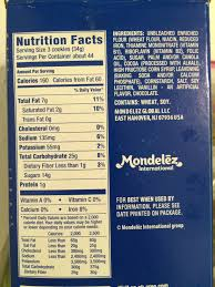 oreo nutrition label