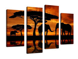 amazon yearainn canvas wall art elephant painting african sunset nature canvas prints large 4 pieces canvas art african landscape contemporary  on african elephant canvas wall art with amazon yearainn canvas wall art elephant painting african