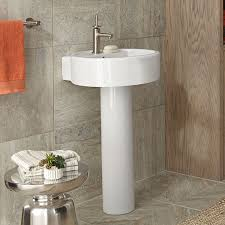 dxv seagram 20 inch round pedestal bathroom sink room scene canvas white