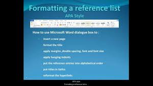 Format Your Reference List In Apa Style