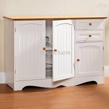 White Kitchen Hutch Cabinet Kitchen Buffet Sideboard Twotone White U0026 Dark Brown Buffet