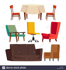 cartoon sofa chair. Cartoon Furniture Set Vector. Sofa, Chair, Table, Office Chair. Flat Isolated Illustration Sofa Chair U