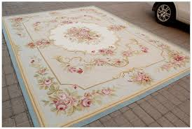 aubusson rug 8x10 pastel blue pink ivory