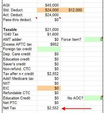 2019 Tax Calculator With Aca Obamacare Health Insurance Subsidy