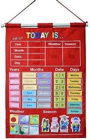 Date Chart For Classroom Amazon Com Yoovi Kids Learning Calendar Weather Season