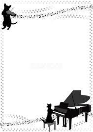 音符や猫と楽器のおしゃれ無料フレーム枠縦イラストモノクロ白黒