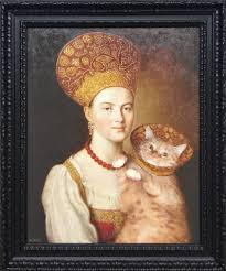 portrait of an unknown woman in russian costume and a well known cat in a
