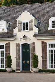 french country front doorShutters  The Potted Boxwood
