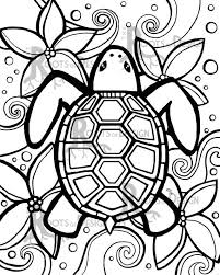 Instant Download Coloring Page Simple Turtle Zentangle Inspired
