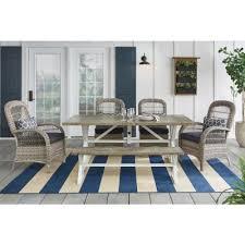 hampton bay beacon park 6 piece gray wicker outdoor dining set with midnight cushions