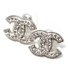 chanel double c earrings. chanel chanel coco make rhinestone earrings clear \u0026times; silver a37272 y98051 z2371 double c
