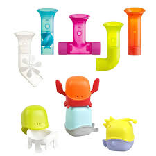 boon 5pc pipes building bath toy suction set w 4pc creatures bath toy cup set