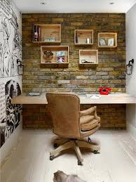 rustic desk home office. Rustic Home Office With Restoration Hardware Marconi Caged Sconce, Hardwood Floors, Wall Desk