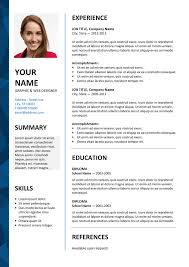 Free Resume Templates Microsoft Word Custom Dalston Free Resume Template Microsoft Word Blue Layout KUNDAN