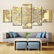 Paintings On Nautical Charts Us 15 12 46 Off Brown Picture Guidepost Map Nautical Chart Canvas Wall Art Paintings For Living Room Wall Decor Artwork Vintage Home Decorations In