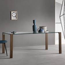 Moderner Esstisch Holz Glas Leder LIVINGSTAND by Giulio