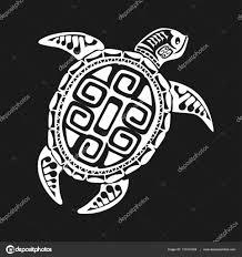 черепаха тату в стиле маори на черном фоне векторная иллюстрация
