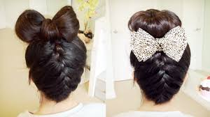 Bows In Hair Style upside down french braid hair bow sock bun updo hair tutorial 1936 by wearticles.com