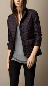 Lyst - Burberry Leather Trim Quilted Jacket in Purple & Gallery. Women's Quilted Jackets Adamdwight.com
