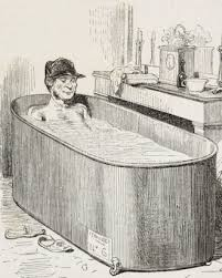 do men enter bathtubs on hands and knees so their hit the water last