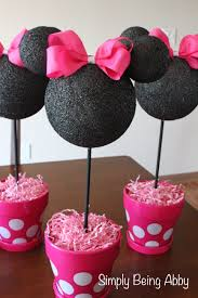 Pink And Black Minnie Mouse Decorations Minnie Mouse Centerpiece Decorations Simply Being Abby