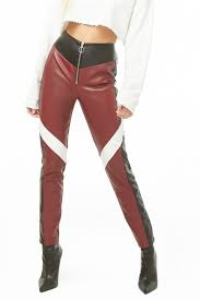 colorblock faux leather pants