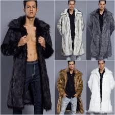Designer Fur Jacket Men 2019 Fashion Fur Coat Mens Clothes Designer Luxury Winter Coats Men Jacket Winter Warm Open Cardigan Fur Long Coat Faux Fur Collar Outwear From