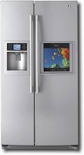 lg refrigerator with tv. lg - 26.2 cu. ft. side-by-side refrigerator with built-in lcd hd-ready tv titanium lg tv r