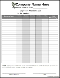 10 Attendance List Templates Free Printable Word Excel Formats