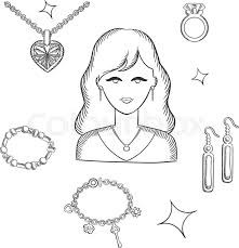 jewelry and fashion sketch design with pretty brunette woman surrounded fashion gold with gemstones precious accessories chain with heart pendant