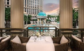 the views from mr chow s patio makes a perfect setting for a las vegas wedding