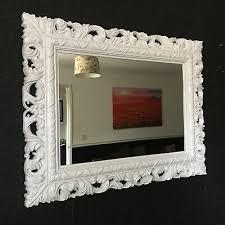 white resin style french ornate mirror