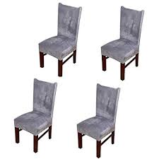 pinji 4pcs stretch chair cover thicken removable dining room protector seat slipcover grey
