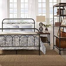 Amazon.com: Morocco Vintage Metal Bed Frame Antique Rustic Dark ...