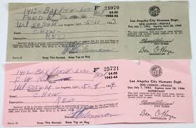 Dog Receipt Original 1944 Los Angeles City Humane Dept Dog License Female