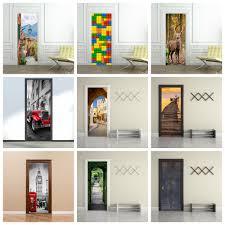 Door Vinyl Design Us 15 85 35 Off Door Wall Sticker Landscape Removable Art Vinyl Mural Home Room Toilet Door Vinyl Decal Transfer Vintage Decoration Quote Art In