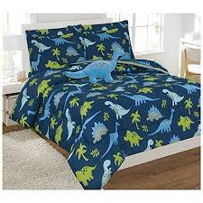 fancy linen 8pc dinosaur blue grey full